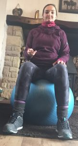 sitting on gym ball